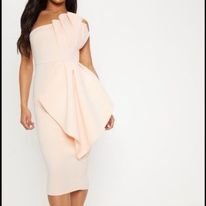 Nude One Shoulder Pleated Detail Midi Dress